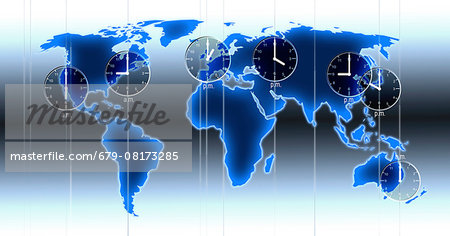 Computer artwork of a world map illustration with indicated time zones, clocks at locations and time differences of Los Angeles, New York, London, Moscow, Beijing, Tokyo and Sydney. Stock Photo - Premium Royalty-Free, Image code: 679-08173285