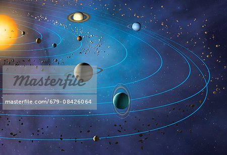 Artwork of the solar system, showing the paths of the eight major planets as they orbit the Sun. The four inner planets are, from inner to outer, Mercury, Venus, Earth and Mars. The four outer planets are, inner to outer, Jupiter, Saturn, Uranus and Neptune. Pluto is also shown, beyond Neptune. Stock Photo - Premium Royalty-Free, Image code: 679-08426064