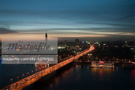 Cityscape at dusk, Cairo, Egypt Stock Photo - Premium Royalty-Free, Image code: 682-03797931