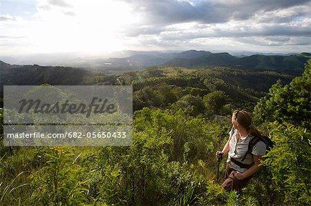 Female hiker at Castle Beacon near Bvumba Mountains, Bvumba, Eastern Highlands, Zimbabwe