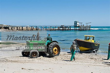 Doringbaai harbor, Tractor pulling small commercial fishing boat onto its trailer, Doringbaai, Western Cape, South Africa