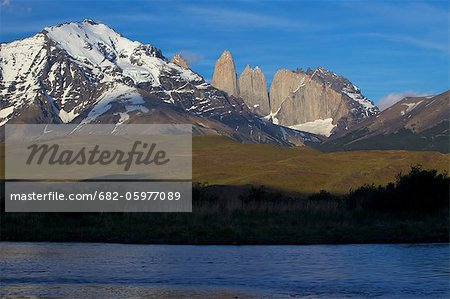 View of the Torres del Paine, Parque Nacional Torres del Paine, Patagonia, Chile Stock Photo - Premium Royalty-Free, Image code: 682-05977089