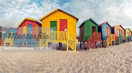 Beach bathing cubicles placed at the highwater mark, Muizenberg Beach, Cape Town, South Africa Stock Photo - Premium Royalty-Free, Image code: 682-05977641