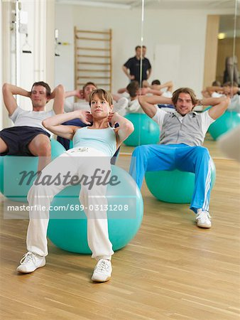 Gym with fit-ball Stock Photo - Premium Royalty-Free, Image code: 689-03131208