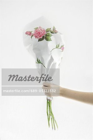 Hand holding wrapped bunch of flowers Stock Photo - Premium Royalty-Free, Image code: 689-05611532