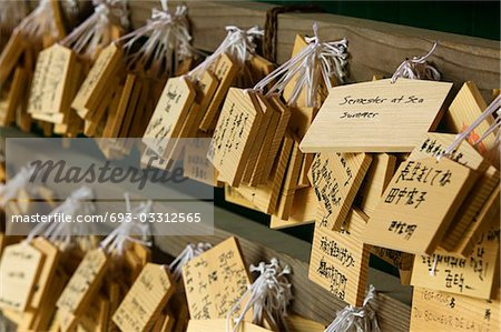 Japan, Nara, Kasuga Shrine, Small wooden plaques with prayers and wishes (Ema)