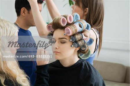 Models Being Prepared for Photo Shoot Stock Photo - Premium Royalty-Free, Image code: 693-03313251