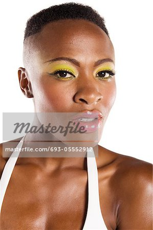 Close up of young African American woman in bikini Stock Photo - Premium Royalty-Free, Image code: 693-05552912