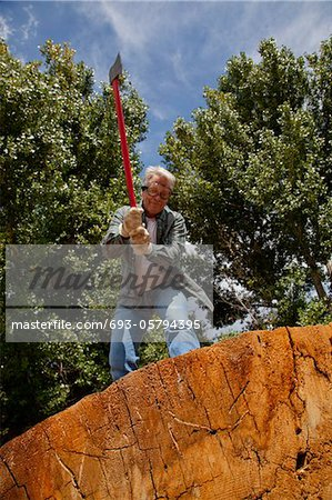 Low angle view of man about to chop wood Stock Photo - Premium Royalty-Free, Image code: 693-05794395
