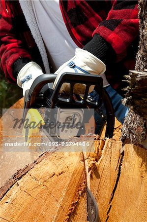 Close-up view of lumberjack with electric saw Stock Photo - Premium Royalty-Free, Image code: 693-05794406