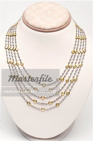 18k white and yellow gold five strand necklace with 44 carats of diamonds Stock Photo - Premium Royalty-Free, Image code: 693-06022190
