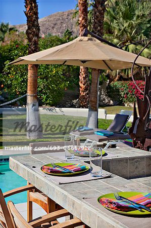Plate settings by poolside Stock Photo - Premium Royalty-Free, Image code: 693-06667912