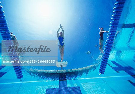 View of female swimmer diving in swimming pool Stock Photo - Premium Royalty-Free, Image code: 693-06668083