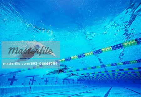 Four female professional participants racing in pool Stock Photo - Premium Royalty-Free, Image code: 693-06668089