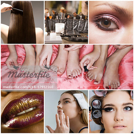 Collage of women applying make-up Stock Photo - Premium Royalty-Free, Image code: 693-07912160