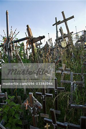 Lithuanian graveyard with wooden crosses Stock Photo - Premium Royalty-Free, Image code: 694-03333044