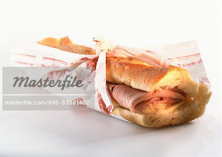 Sandwich on baguette bread Stock Photo - Premium Royalty-Free, Image code: 695-03381482