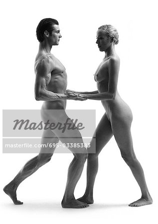 Nude man and woman dancing, b&w Stock Photo - Premium Royalty-Free, Image code: 695-03385383