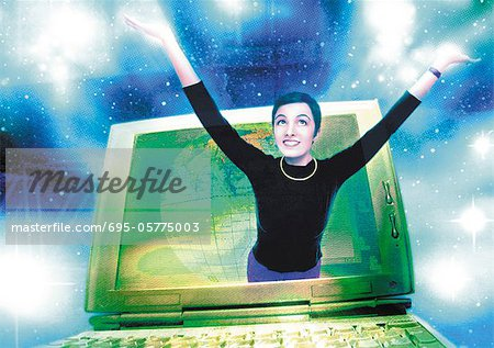 Young woman emerging from computer monitor, digital composite. Stock Photo - Premium Royalty-Free, Image code: 695-05775003