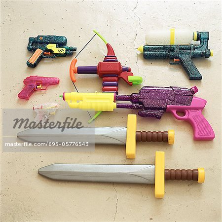 Children's toy swords and guns
