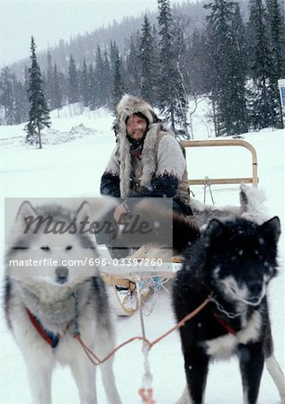 Sweden, man sitting on sled pulled by sled dogs Stock Photo - Premium Royalty-Free, Image code: 696-03397260