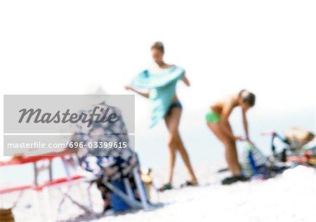 Group of people on beach, blurred Stock Photo - Premium Royalty-Free, Image code: 696-03399615