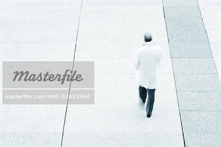 High angle rear view of business man walking down sidewalk Stock Photo - Premium Royalty-Free, Image code: 696-03402964