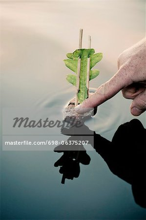 Man's hand sailing boat made up of wood and leaf Stock Photo - Premium Royalty-Free, Image code: 698-06375207