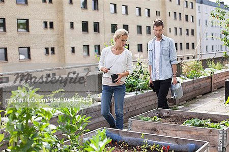 Young Caucasian couple examining potted plants at urban garden Stock Photo - Premium Royalty-Free, Image code: 698-06444224