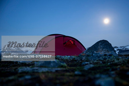 Tent on mountain at night Stock Photo - Premium Royalty-Free, Image code: 698-07158627