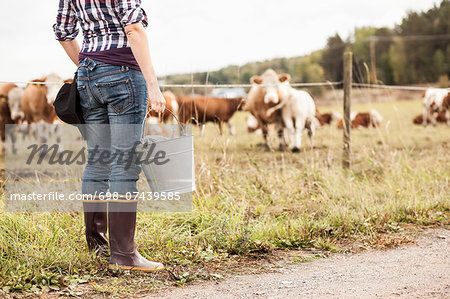 Low section of female farmer with bucket standing at field with animals grazing in background Stock Photo - Premium Royalty-Free, Image code: 698-07439585