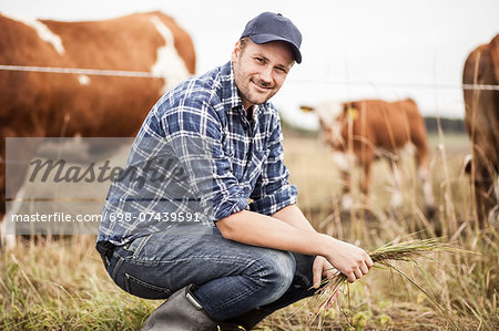 Portrait of farmer with grass crouching on field while animals grazing in background Stock Photo - Premium Royalty-Free, Image code: 698-07439591