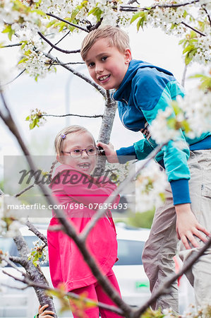 Portrait of boy playing with sister on tree branch Stock Photo - Premium Royalty-Free, Image code: 698-07635693