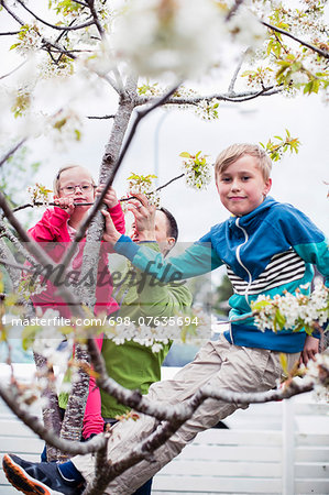 Portrait of siblings on tree branch with father standing in yard Stock Photo - Premium Royalty-Free, Image code: 698-07635694