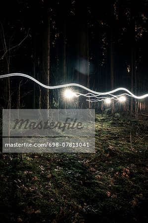 Light trails in forest Stock Photo - Premium Royalty-Free, Image code: 698-07813041