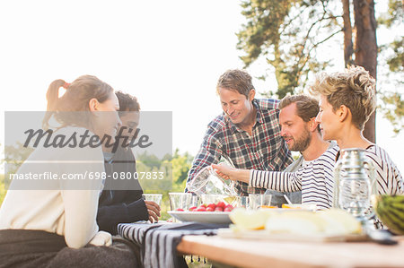 Friends having lunch at picnic table against clear sky Stock Photo - Premium Royalty-Free, Image code: 698-08007833