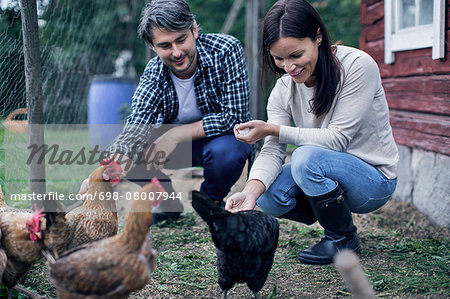 Happy couple feeding hens at poultry farm Stock Photo - Premium Royalty-Free, Image code: 698-08007944
