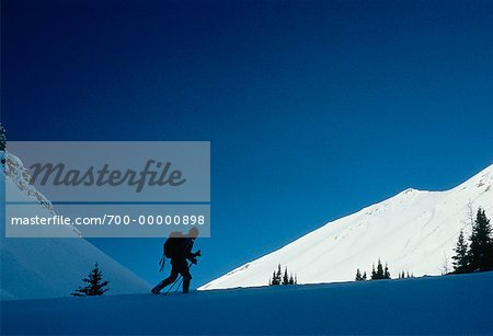 Silhouette of Person Ski Touring Banff National Park Alberta, Canada Stock Photo - Rights-Managed, Image code: 700-00000898