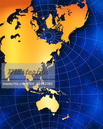 Map of Australia and Pacific Rim Stock Photo - Rights-Managed, Image code: 700-00012382