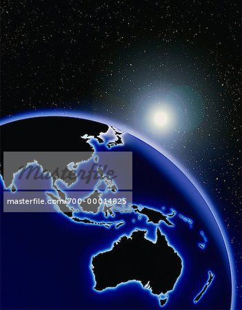 Globe and Starburst Pacific Rim Stock Photo - Rights-Managed, Image code: 700-00014825