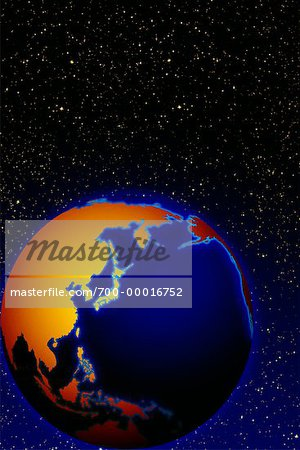 Globe in Space Pacific Rim Stock Photo - Rights-Managed, Image code: 700-00016752