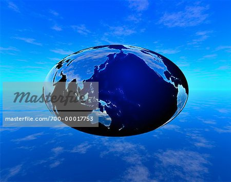 Oval Globe and Clouds Pacific Rim and North America Stock Photo - Rights-Managed, Image code: 700-00017753