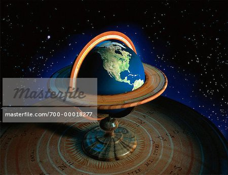 Globe with Stand in Space North America Stock Photo - Rights-Managed, Image code: 700-00018277