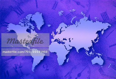 World Map and Clocks Stock Photo - Rights-Managed, Image code: 700-00021950