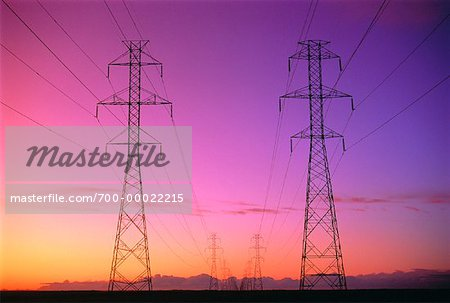 Electrical Transmission Towers At Sunset Stock Photo - Rights-Managed, Image code: 700-00022215