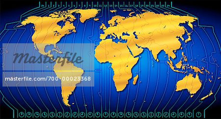 World Map with Time Zones Stock Photo - Rights-Managed, Image code: 700-00023368