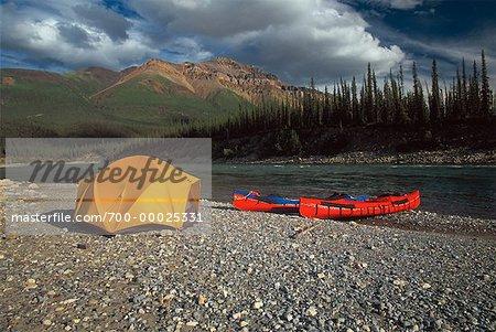 Campsite MacKenzie Mountains Northwest Territories, Canada