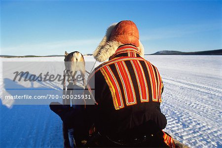 Laplander on Reindeer Sleigh Near Jukkasjarvi, Sweden Stock Photo - Rights-Managed, Image code: 700-00025931