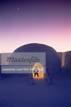 Man in Igloo at Dusk Jukkasjarvi North of Arctic Circle, Lapland, Sweden Stock Photo - Rights-Managed, Image code: 700-00025967