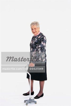 Portrait of Elderly Woman with Walker